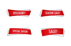 Sale banner set, special offer tag collection royalty free stock photo