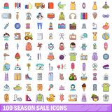 100 season sale icons set, cartoon style. 100 season sale icons set. Cartoon illustration of 100 season sale vector icons isolated on white background Royalty Free Stock Photos