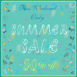 Season sale inscription with floral background stock image