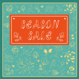 Season sale inscription with floral background royalty free stock photography