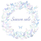 Season sale marketing poster, banner, promotion. Promotion banner, poster, flyer featuring butterflies in pastel hues arranged in circle forming a frame for a Royalty Free Stock Photos