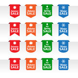 Season sale paper tag labels. In various colors Royalty Free Stock Photos