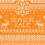 Season sale: Scandinavian style seamless knitted pattern with de Royalty Free Stock Photography