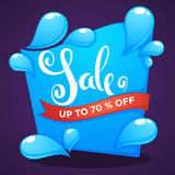Season sale, shine water drop vector discount banner. Template design with lettering composition on dark background Royalty Free Stock Photo