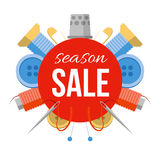 Season sale sign with sewing stuff. For tailor shop, studio or atelier. Tools for handmade at the sides: needles, pins, thread, buttons. Simple style vector Stock Images