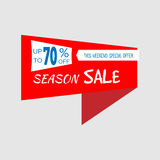 Season Sale special offer banner, up to 70% off. Vector illustration. Red label. Icon for special offer. Sticker with sale message Stock Photography