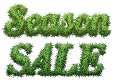 Season Sale text made of grass. Isolated on a black background. 3D illustration Royalty Free Illustration