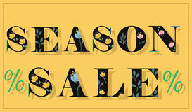 Season Sale. Unusual floral font stock images