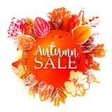 Autumn Sale banner with ink stamp leaves. Season sale Vector background with ink stamp and paper leaves and paint splashes. Autumn season business discount Royalty Free Stock Image