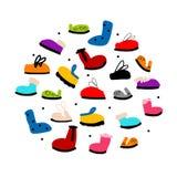 Season shoes collection, sketch for your design Stock Photos
