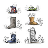 Season shoes collection, sketch for your design Royalty Free Stock Photo