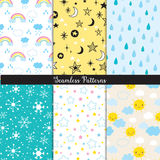 Season Sky Star Seamless Pattern Set. Vector illustration of seamless pattern background set with sun, star, rain, snowflakes, cloud and rainbow Royalty Free Stock Photos