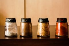 Season spices: salt, pepper, paprika and mix Royalty Free Stock Image