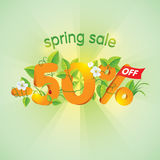 Season Spring Sale 50 Off. Season spring sale fifty percent off. Lettering design with floral elements royalty free illustration