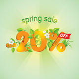Season Spring Sale 20 Off. Season spring sale 20% off. Lettering design with floral elements Royalty Free Stock Photography