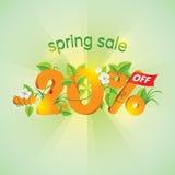 Season Spring Sale 20 Off. Season spring sale 20% off. Lettering design with floral elements stock illustration
