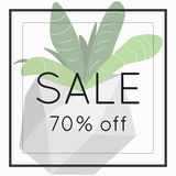 Season spring sale 70 off sign over plant. Sale 70 off sign over plant. Spring sale background banner Stock Image