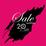 Season summer sale 20% off sign. Over grunge brush art paint Stock Photos