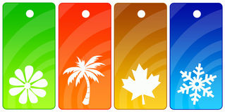 Season tags. Sales or other tags for all four seasons Stock Image