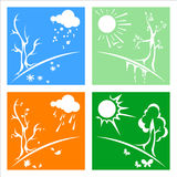 Season. To four picture in one file. seasons: winter, summer, fall and spring. different color with a precipitation and signs Royalty Free Stock Image