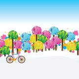 Season tree card. Illustration season tree colorful bicycle cat bright graphic element card template sky view Royalty Free Stock Photos