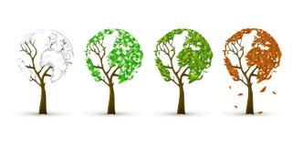 Season trees. 4 season trees icons witrh the leaves plased like world map Royalty Free Stock Images