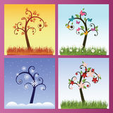 Season trees. Backgrounds with four season trees Vector Illustration