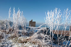 Season view ballybunion castle and beach in snow Royalty Free Stock Photo