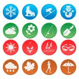 Season weather icon set Royalty Free Stock Photos