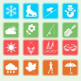 Season weather icon set Royalty Free Stock Images