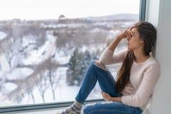 Free Seasonal Affective Disorder SAD Depression Winter Season Anxious Alone Young Girl Feeling Lonely - Stress, Anxiety Stock Photo - 194675560