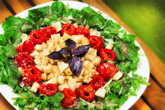 Seasonal arugula salad with parmesan cheese and roasted red peppers Royalty Free Stock Image