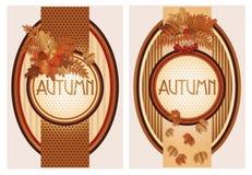 Seasonal autumn banners. Vector illustration Stock Photos