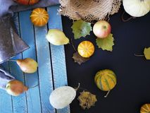 Seasonal autumn composition from a variety of pumpkins, pears, apples, yellow leaves and straw hat, preparation for a home holiday. Helloween, dark background stock photos