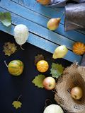 Seasonal autumn composition from a variety of pumpkins, pears, apples, yellow leaves and straw hat, preparation for a home holiday. Helloween, dark background royalty free stock photos