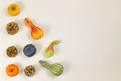 Seasonal autumn flat lay with various small pumpkins and pine cones at side of beige background with copy space