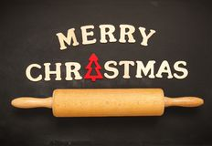 Merry Christmas on a chalkboard Royalty Free Stock Image
