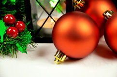 Seasonal background with Christmas decorations Royalty Free Stock Photo