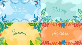 Seasonal backgrounds set in flat style. Winter, spring autumn summer with seasonal elements. Vector backgrounds collection.  royalty free illustration