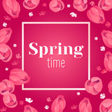 Seasonal banner. Hello Spring greeting card. Holiday frame with text and flowers. Vector template with fresh colorful background. Festive frame decorated with Stock Images