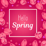 Seasonal banner. Hello Spring greeting card. Holiday frame with text and flowers. Vector template with fresh colorful background. Festive frame decorated with Royalty Free Stock Photos
