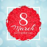 Seasonal banner for 8 March. Greeting card for Happy Womens Day. Rose petals in white frame. Light blue background with abstract l. Ights bokeh. Vector Royalty Free Stock Image