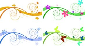 Seasonal banners. Vector floral backgrounds for banners of different seasons Stock Photo