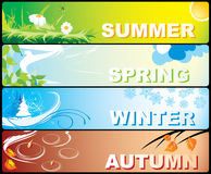 Seasonal banners. Four colourful banners on a theme of winter, spring, autumn and summer with the image of the nature Royalty Free Stock Photography
