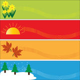 Seasonal Banners Set. Set of banners representing the four seasons of autumn / fall, spring, summer and winter, with space for copy, vector Royalty Free Stock Photos