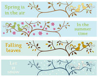 4 Seasonal banners. Withs love brids Stock Photos