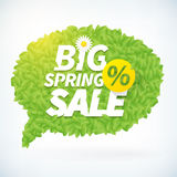 Seasonal big spring sale speech bubble business background Stock Image