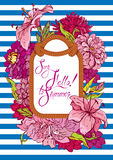 Seasonal Card with rope frame and flowers on stripe blue and whi Royalty Free Stock Photos