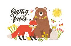 Seasonal card template with cute forest animals surrounded by blooming flowers and butterflies and Spring Vibes. Lettering handwritten with cursive font. Vector royalty free illustration