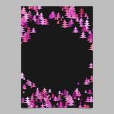 Seasonal Christmas design page template - blank winter holiday vector brochure background. Graphic design from stylized pine trees in pink tones Royalty Free Stock Photos